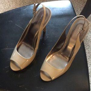 Nude Calvin Klein sling back high heels open toe